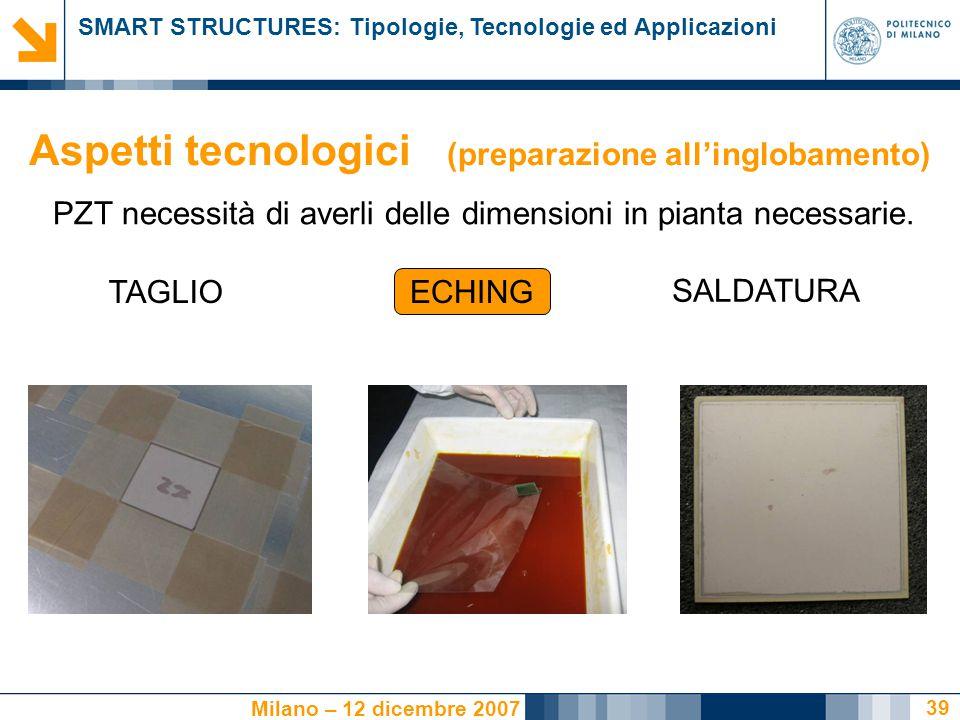 SMART STRUCTURES: Tipologie, Tecnologie ed Applicazioni Milano – 12 dicembre 2007 39 PZT necessità di averli delle dimensioni in pianta necessarie. EC