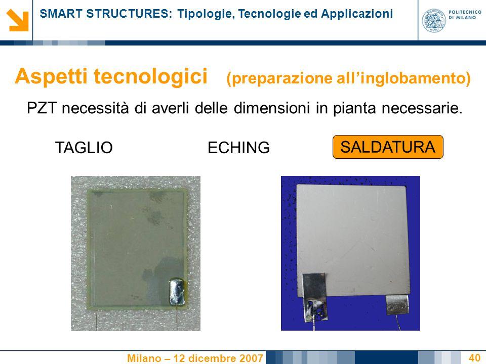 SMART STRUCTURES: Tipologie, Tecnologie ed Applicazioni Milano – 12 dicembre 2007 40 PZT necessità di averli delle dimensioni in pianta necessarie.