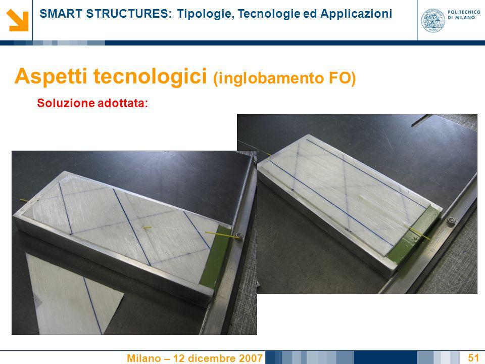 SMART STRUCTURES: Tipologie, Tecnologie ed Applicazioni Milano – 12 dicembre 2007 51 Soluzione adottata: Aspetti tecnologici (inglobamento FO)