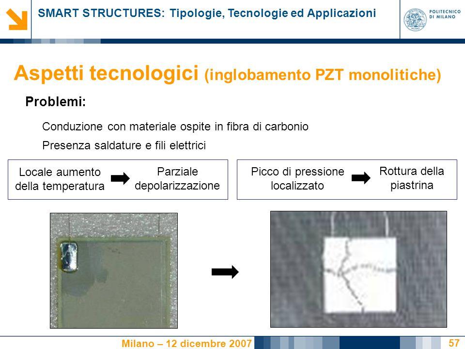 SMART STRUCTURES: Tipologie, Tecnologie ed Applicazioni Milano – 12 dicembre 2007 57 Presenza saldature e fili elettrici Picco di pressione localizzat
