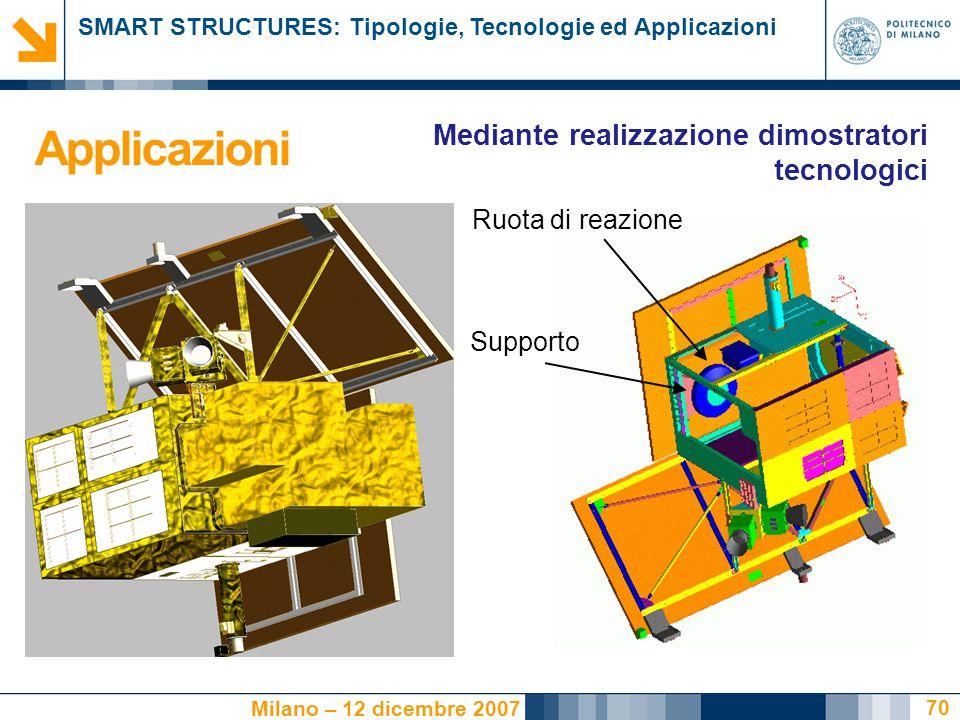 SMART STRUCTURES: Tipologie, Tecnologie ed Applicazioni Milano – 12 dicembre 2007 70 Ruota di reazione Supporto Applicazioni Mediante realizzazione dimostratori tecnologici