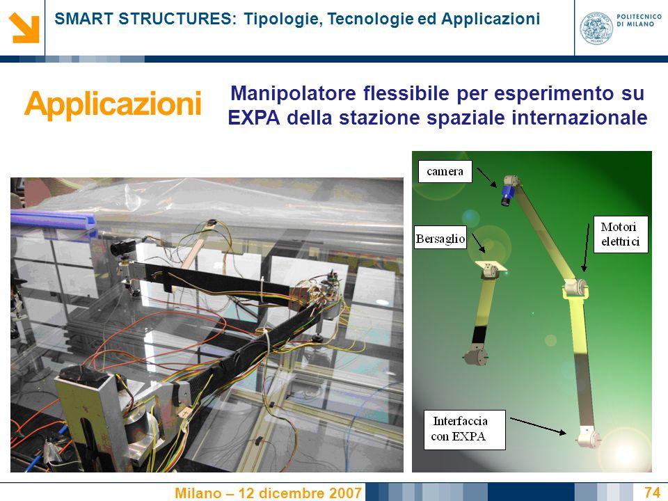 SMART STRUCTURES: Tipologie, Tecnologie ed Applicazioni Milano – 12 dicembre 2007 74 Applicazioni Manipolatore flessibile per esperimento su EXPA della stazione spaziale internazionale