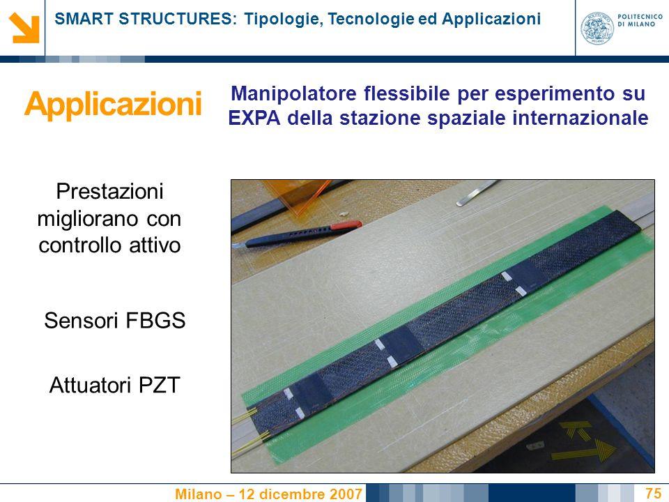 SMART STRUCTURES: Tipologie, Tecnologie ed Applicazioni Milano – 12 dicembre 2007 75 Prestazioni migliorano con controllo attivo Sensori FBGS Attuatori PZT Applicazioni Manipolatore flessibile per esperimento su EXPA della stazione spaziale internazionale