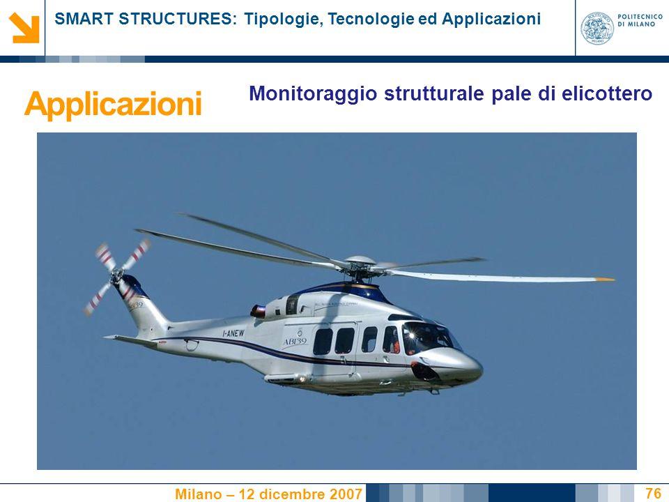 SMART STRUCTURES: Tipologie, Tecnologie ed Applicazioni Milano – 12 dicembre 2007 76 Monitoraggio strutturale pale di elicottero Applicazioni