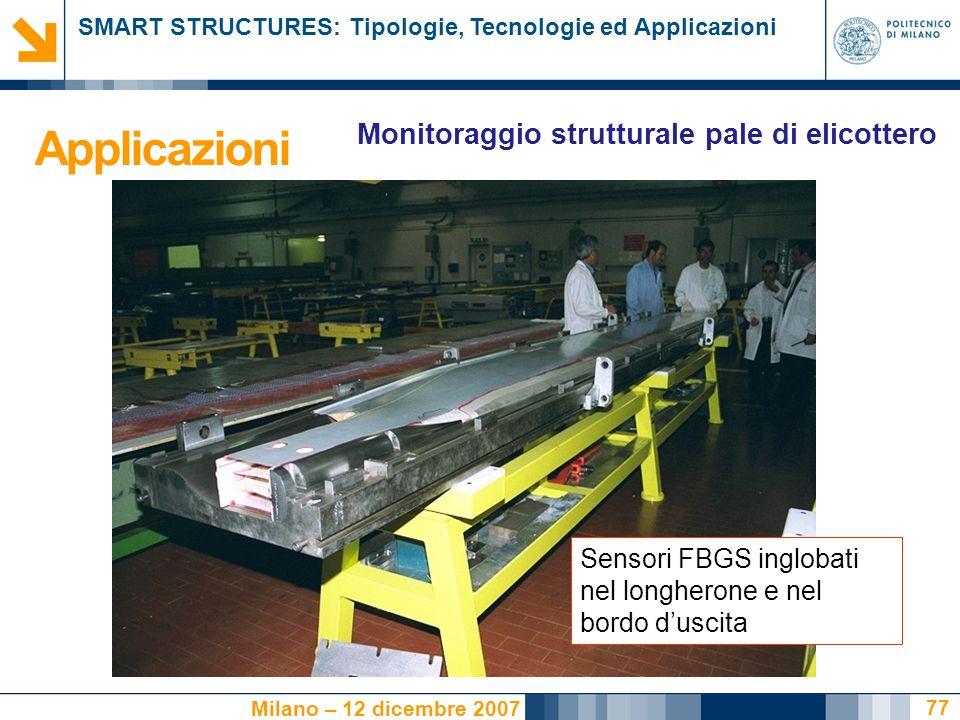 SMART STRUCTURES: Tipologie, Tecnologie ed Applicazioni Milano – 12 dicembre 2007 77 Sensori FBGS inglobati nel longherone e nel bordo d'uscita Monito