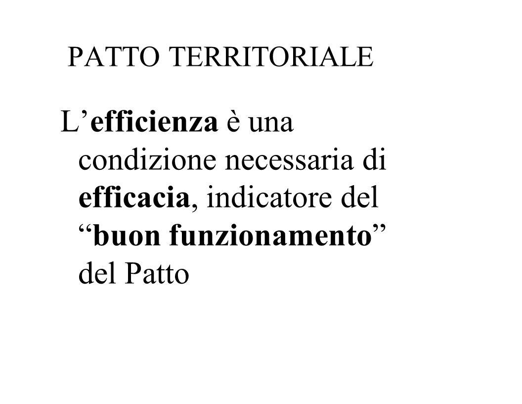 PATTO TERRITORIALE L'efficienza è una condizione necessaria di efficacia, indicatore del buon funzionamento del Patto