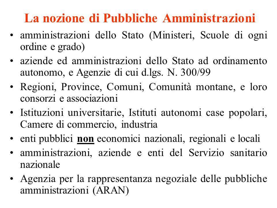 La nozione di Pubbliche Amministrazioni amministrazioni dello Stato (Ministeri, Scuole di ogni ordine e grado) aziende ed amministrazioni dello Stato ad ordinamento autonomo, e Agenzie di cui d.lgs.