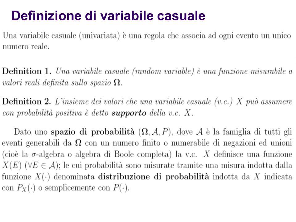 Definizione di variabile casuale