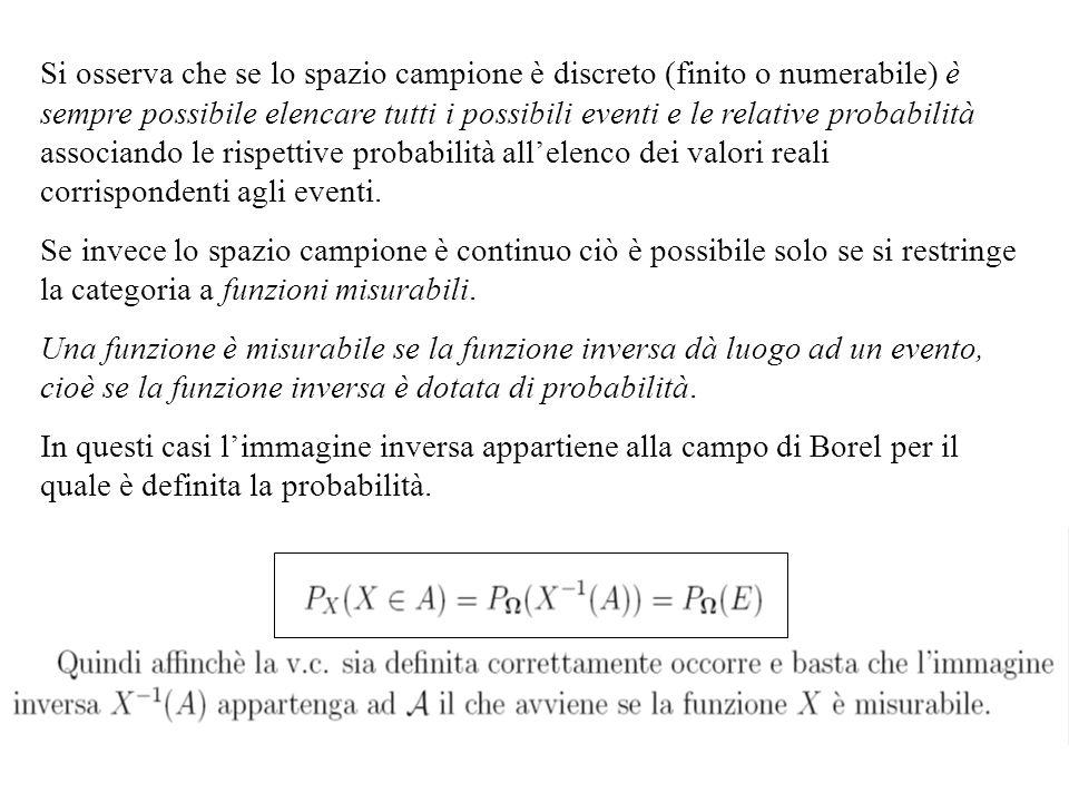 Si osserva che se lo spazio campione è discreto (finito o numerabile) è sempre possibile elencare tutti i possibili eventi e le relative probabilità associando le rispettive probabilità all'elenco dei valori reali corrispondenti agli eventi.