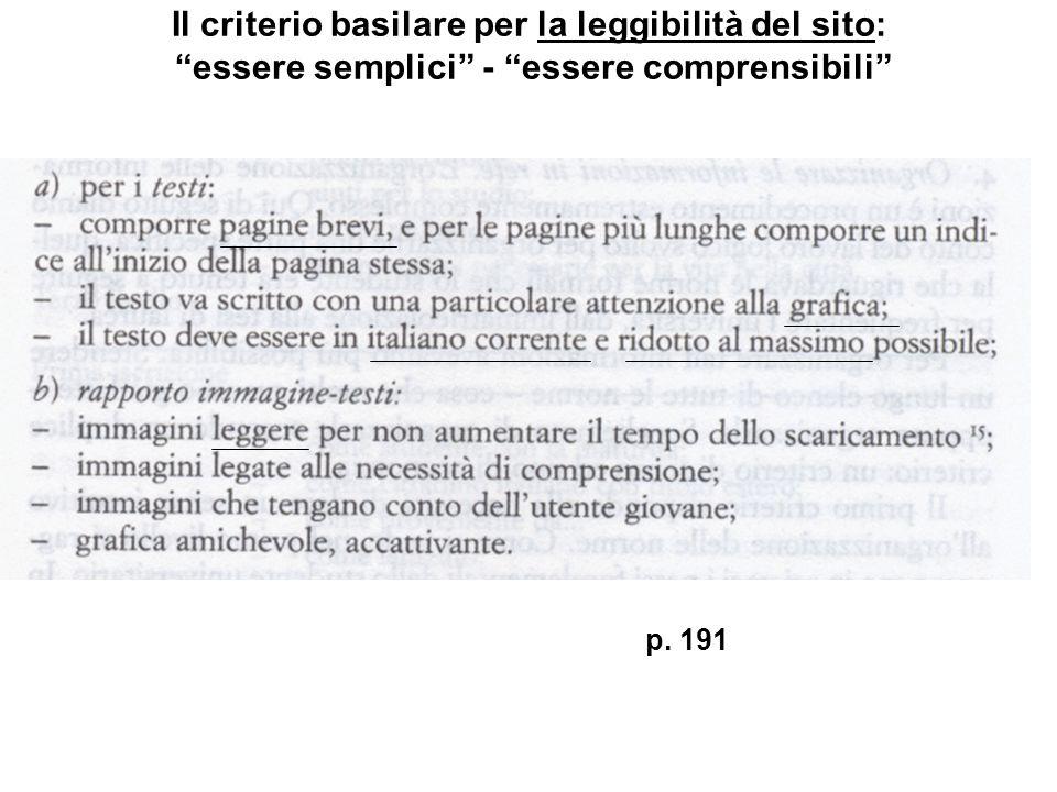 Il criterio basilare per la leggibilità del sito: essere semplici - essere comprensibili p. 191