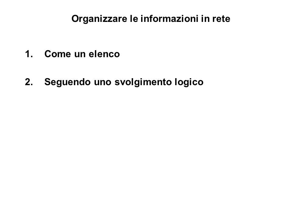 Organizzare le informazioni in rete 1.Come un elenco 2.Seguendo uno svolgimento logico