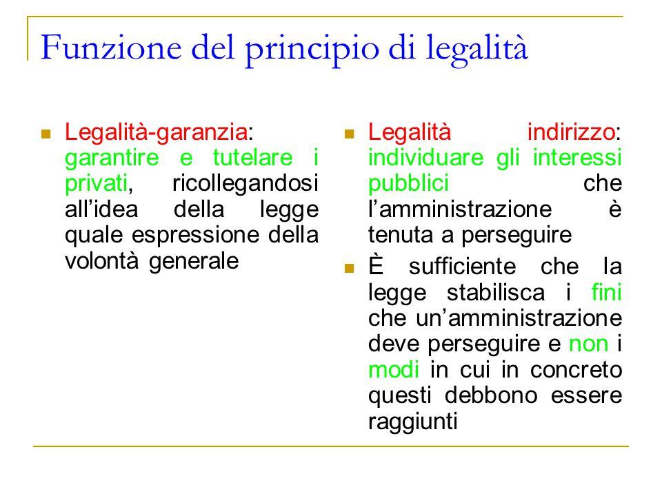 Funzione del principio di legalità Legalità-garanzia: garantire e tutelare i privati, ricollegandosi all'idea della legge quale espressione della volo