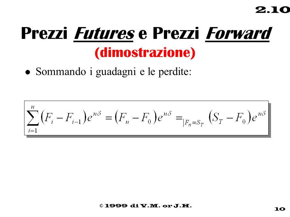 © 1999 di V.M. or J.H. 10 2.10 Prezzi Futures e Prezzi Forward (dimostrazione) l Sommando i guadagni e le perdite: