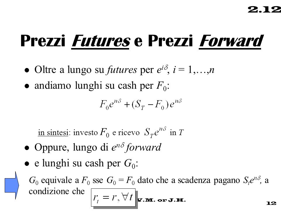 © 1999 di V.M. or J.H. 12 2.12 Prezzi Futures e Prezzi Forward Oltre a lungo su futures per e i , i = 1,…,n l andiamo lunghi su cash per F 0 : in sin