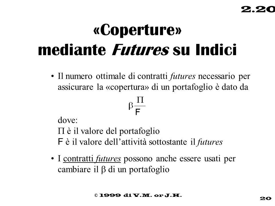 © 1999 di V.M. or J.H. 20 2.20 «Coperture» mediante Futures su Indici Il numero ottimale di contratti futures necessario per assicurare la «copertura»