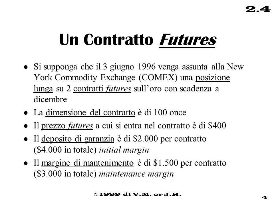 © 1999 di V.M. or J.H. 4 2.4 Un Contratto Futures l Si supponga che il 3 giugno 1996 venga assunta alla New York Commodity Exchange (COMEX) una posizi