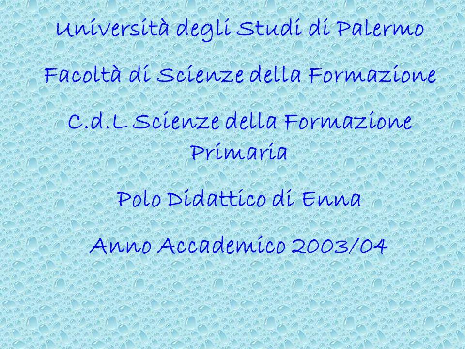 Università degli Studi di Palermo Facoltà di Scienze della Formazione C.d.L Scienze della Formazione Primaria Polo Didattico di Enna Anno Accademico 2003/04