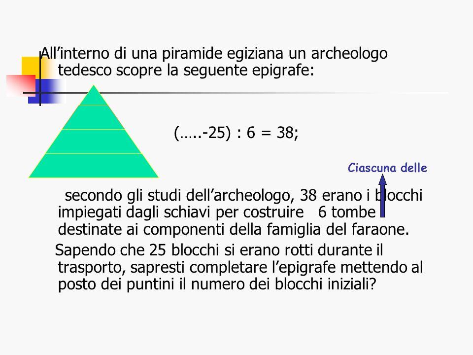All'interno di una piramide egiziana un archeologo tedesco scopre la seguente epigrafe: (…..-25) : 6 = 38; secondo gli studi dell'archeologo, 38 erano i blocchi impiegati dagli schiavi per costruire 6 tombe destinate ai componenti della famiglia del faraone.