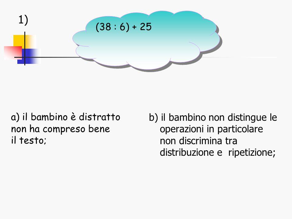 1) b) il bambino non distingue le operazioni in particolare non discrimina tra distribuzione e ripetizione; a) il bambino è distratto non ha compreso bene il testo; (38 : 6) + 25