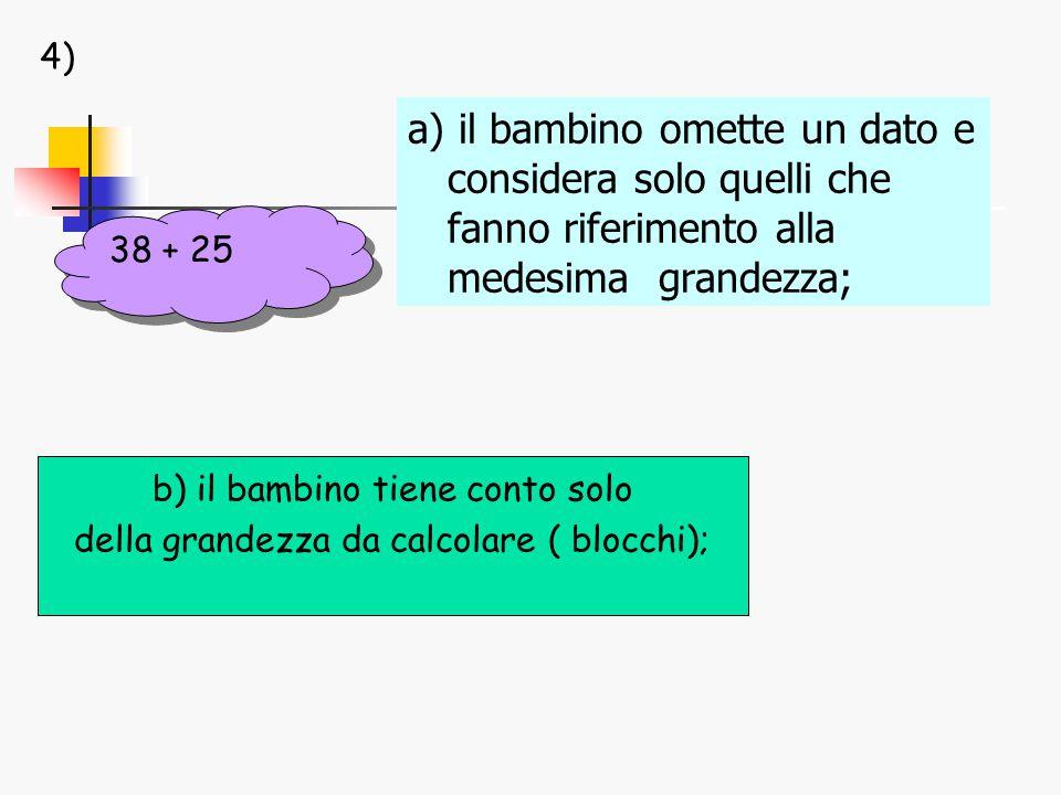 b) il bambino tiene conto solo della grandezza da calcolare ( blocchi); a) il bambino omette un dato e considera solo quelli che fanno riferimento alla medesima grandezza; 38 + 25 4)