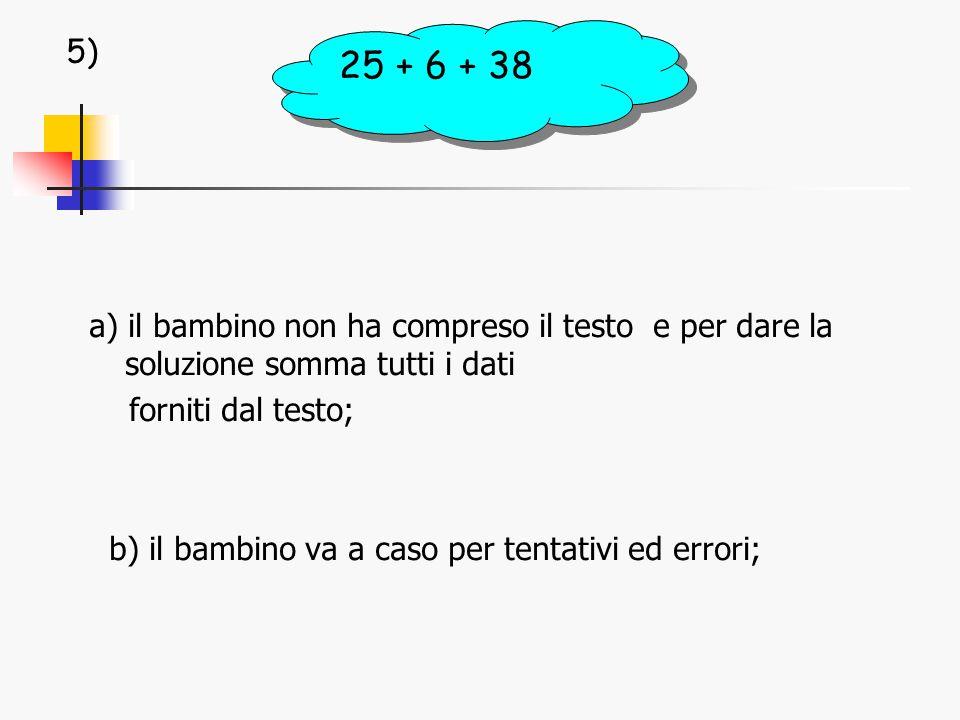 a) il bambino non ha compreso il testo e per dare la soluzione somma tutti i dati forniti dal testo; b) il bambino va a caso per tentativi ed errori; 25 + 6 + 38 5)