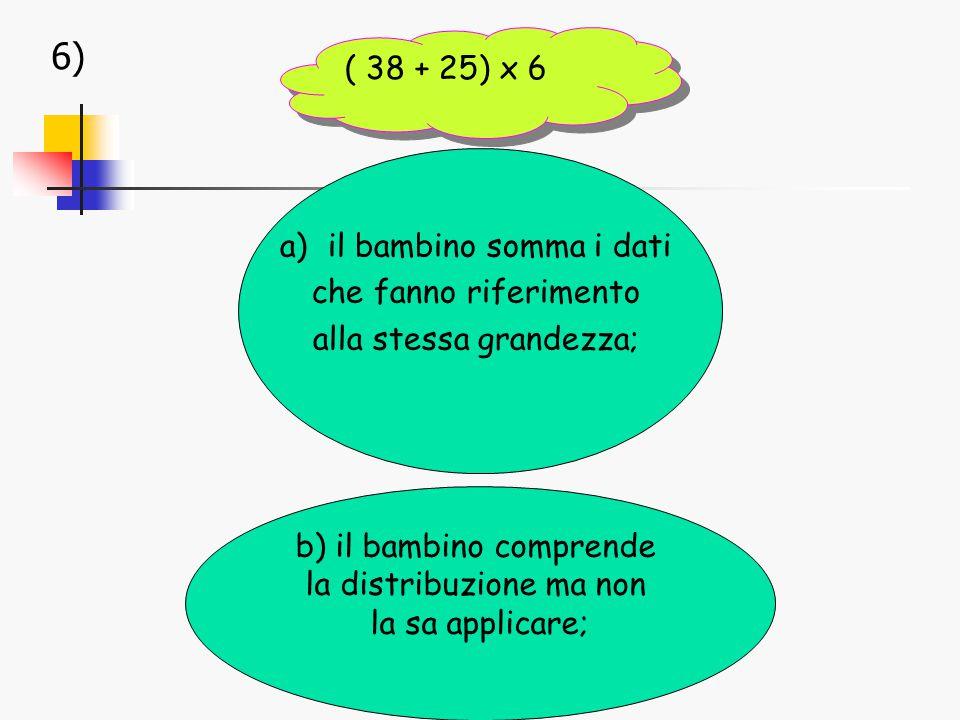 6) a)il bambino somma i dati che fanno riferimento alla stessa grandezza; b) il bambino comprende la distribuzione ma non la sa applicare; ( 38 + 25) x 6