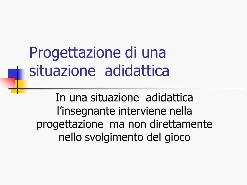 Progettazione di una situazione adidattica In una situazione adidattica l'insegnante interviene nella progettazione ma non direttamente nello svolgime