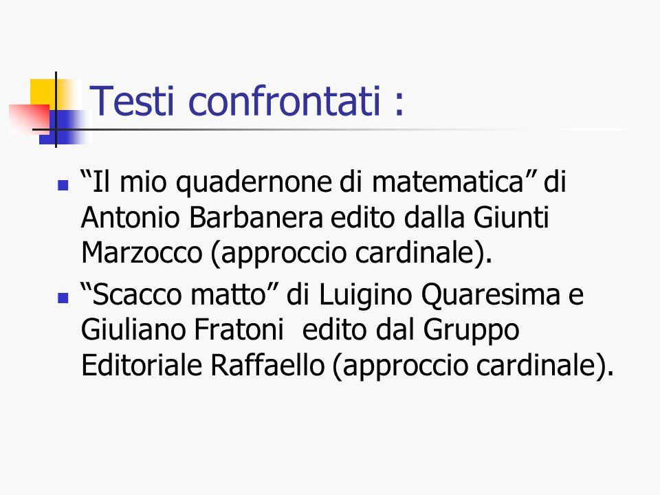 """Testi confrontati : """"Il mio quadernone di matematica"""" di Antonio Barbanera edito dalla Giunti Marzocco (approccio cardinale). """"Scacco matto"""" di Luigin"""