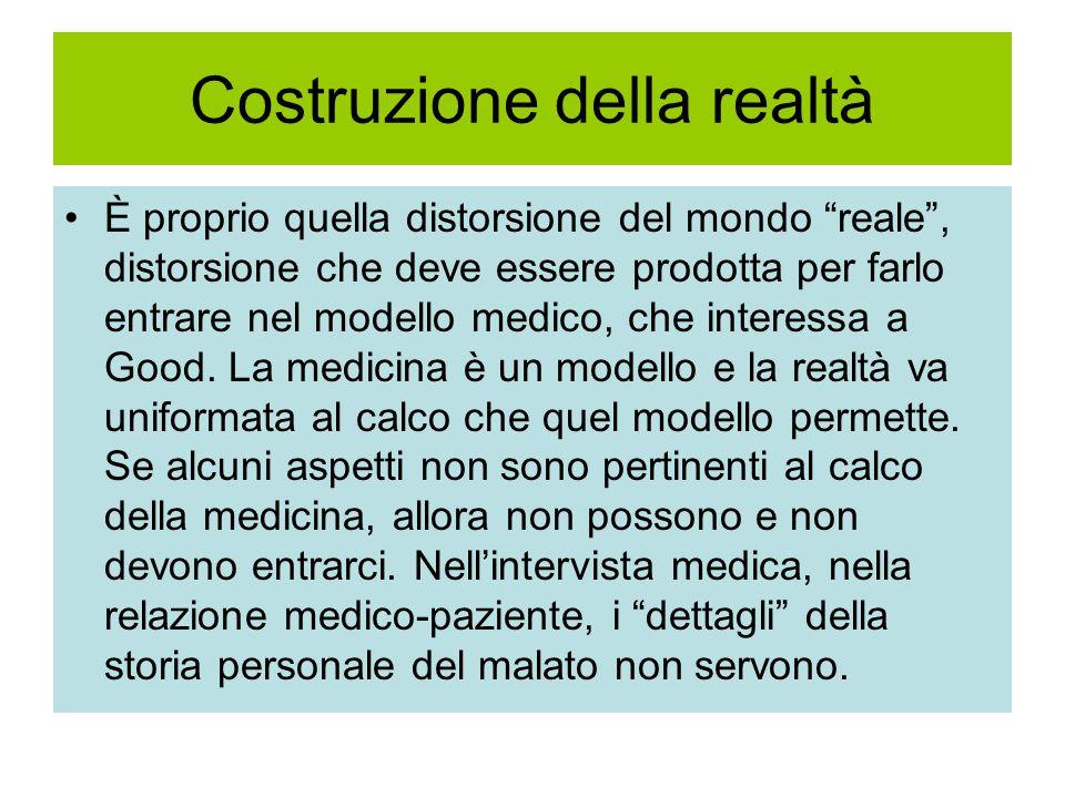 Costruzione della realtà È proprio quella distorsione del mondo reale , distorsione che deve essere prodotta per farlo entrare nel modello medico, che interessa a Good.