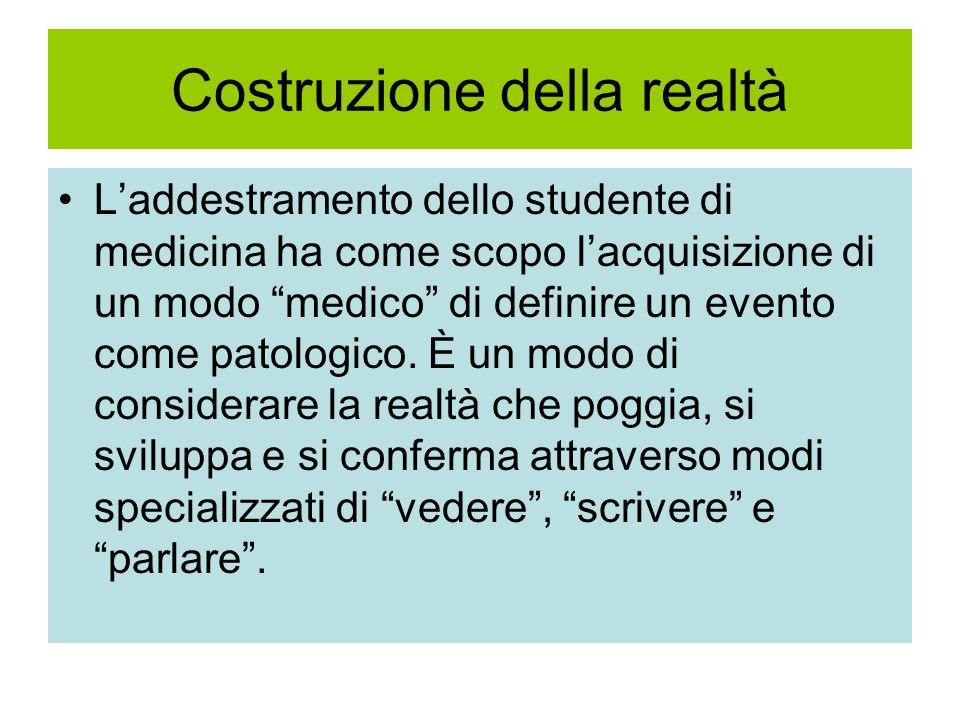 Costruzione della realtà L'addestramento dello studente di medicina ha come scopo l'acquisizione di un modo medico di definire un evento come patologico.