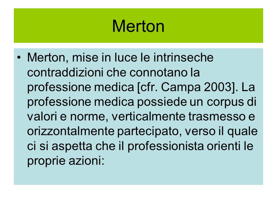 Merton Merton, mise in luce le intrinseche contraddizioni che connotano la professione medica [cfr.
