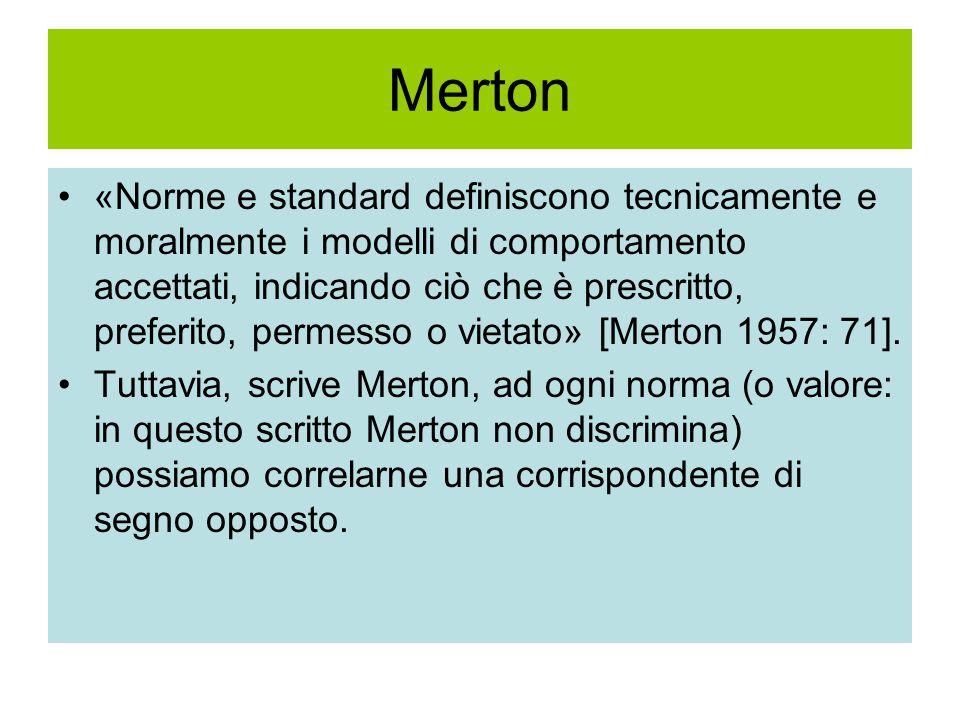 Merton «Norme e standard definiscono tecnicamente e moralmente i modelli di comportamento accettati, indicando ciò che è prescritto, preferito, permesso o vietato» [Merton 1957: 71].