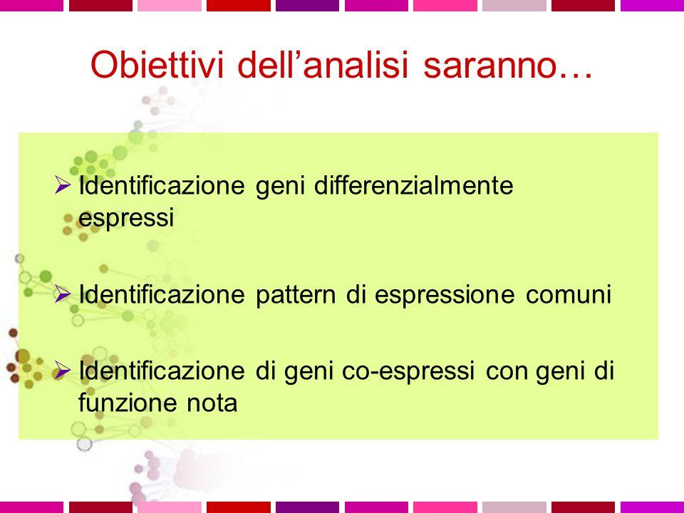 Obiettivi dell'analisi saranno…  Identificazione geni differenzialmente espressi  Identificazione pattern di espressione comuni  Identificazione di geni co-espressi con geni di funzione nota
