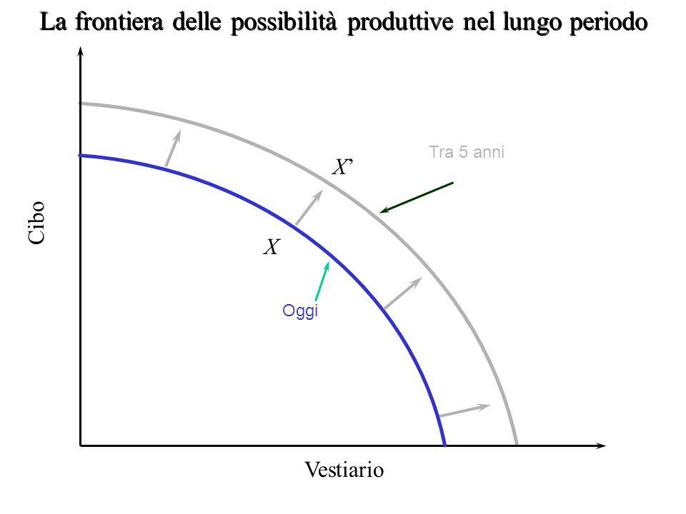 punti sulla frontiera combinazioni produttive efficienti (punti X e Y) punti all'interno della frontiera risorse non pienamente utilizzate (o in modo inefficiente V) punti all'esterno della frontiera paese non dispone di risorse sufficienti per raggiungerli ( breve periodo)
