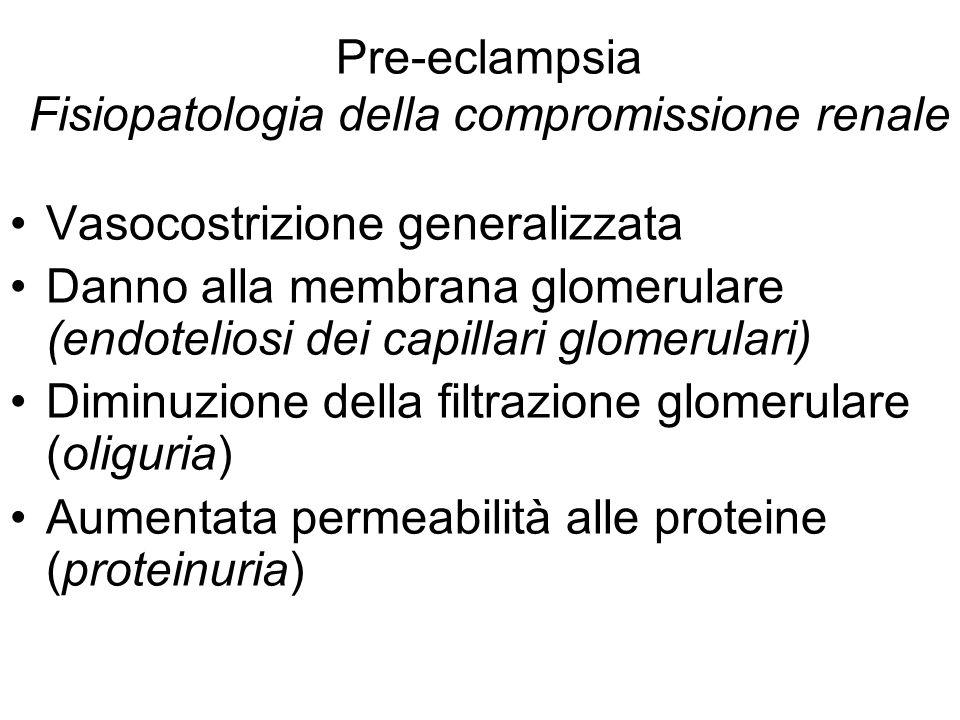 Pre-eclampsia Fisiopatologia della compromissione renale Vasocostrizione generalizzata Danno alla membrana glomerulare (endoteliosi dei capillari glom