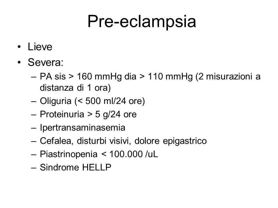 Pre-eclampsia Lieve Severa: –PA sis > 160 mmHg dia > 110 mmHg (2 misurazioni a distanza di 1 ora) –Oliguria (< 500 ml/24 ore) –Proteinuria > 5 g/24 or