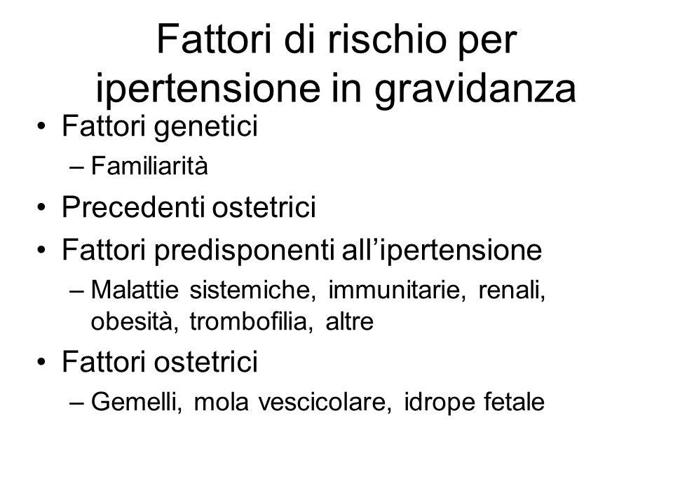 Fattori di rischio per ipertensione in gravidanza Fattori genetici –Familiarità Precedenti ostetrici Fattori predisponenti all'ipertensione –Malattie