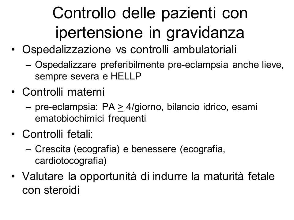 Controllo delle pazienti con ipertensione in gravidanza Ospedalizzazione vs controlli ambulatoriali –Ospedalizzare preferibilmente pre-eclampsia anche