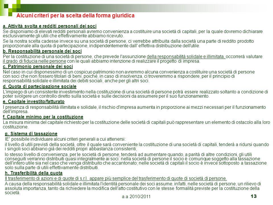 a.a 2010/201113 Alcuni criteri per la scelta della forma giuridica a. Attività svolta e redditi personali dei soci Se disponiamo di elevati redditi pe