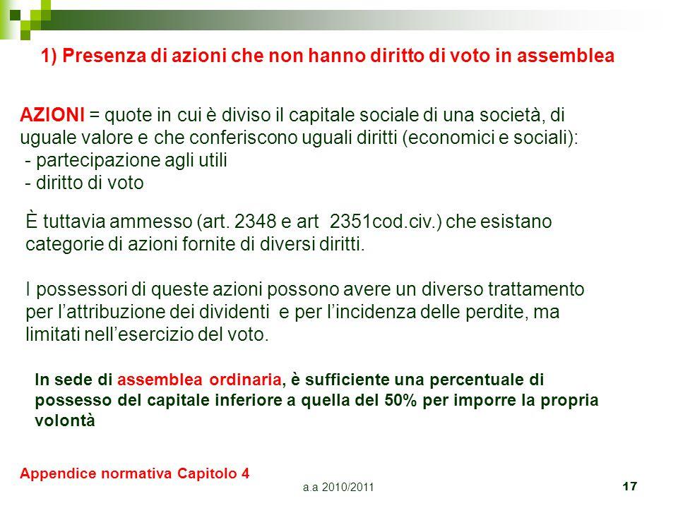 a.a 2010/201117 1) Presenza di azioni che non hanno diritto di voto in assemblea AZIONI = quote in cui è diviso il capitale sociale di una società, di