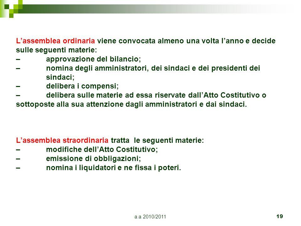 a.a 2010/201119 L'assemblea ordinaria viene convocata almeno una volta l'anno e decide sulle seguenti materie: –approvazione del bilancio; –nomina deg