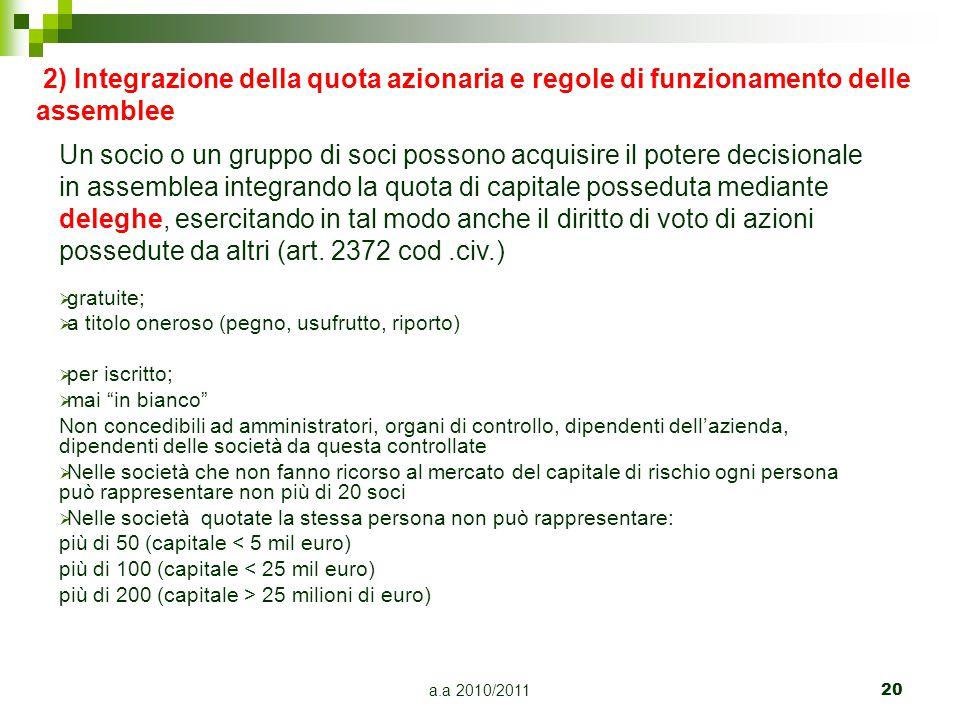 a.a 2010/201120 2) Integrazione della quota azionaria e regole di funzionamento delle assemblee Un socio o un gruppo di soci possono acquisire il pote