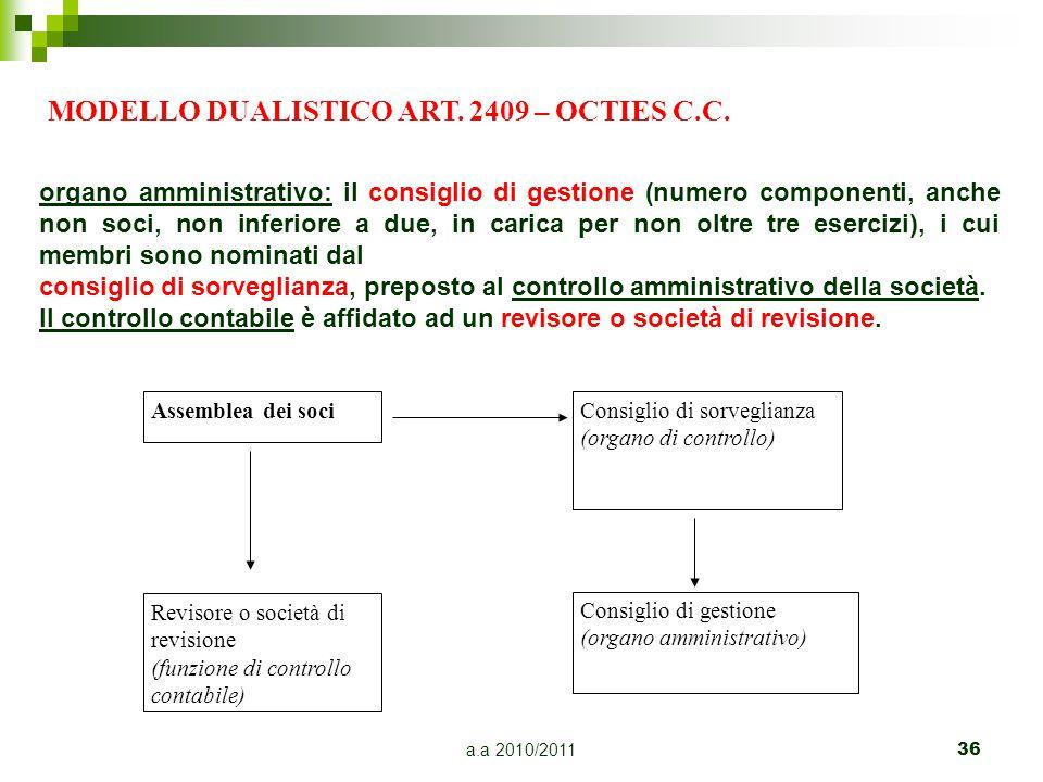 a.a 2010/201136 organo amministrativo: il consiglio di gestione (numero componenti, anche non soci, non inferiore a due, in carica per non oltre tre e