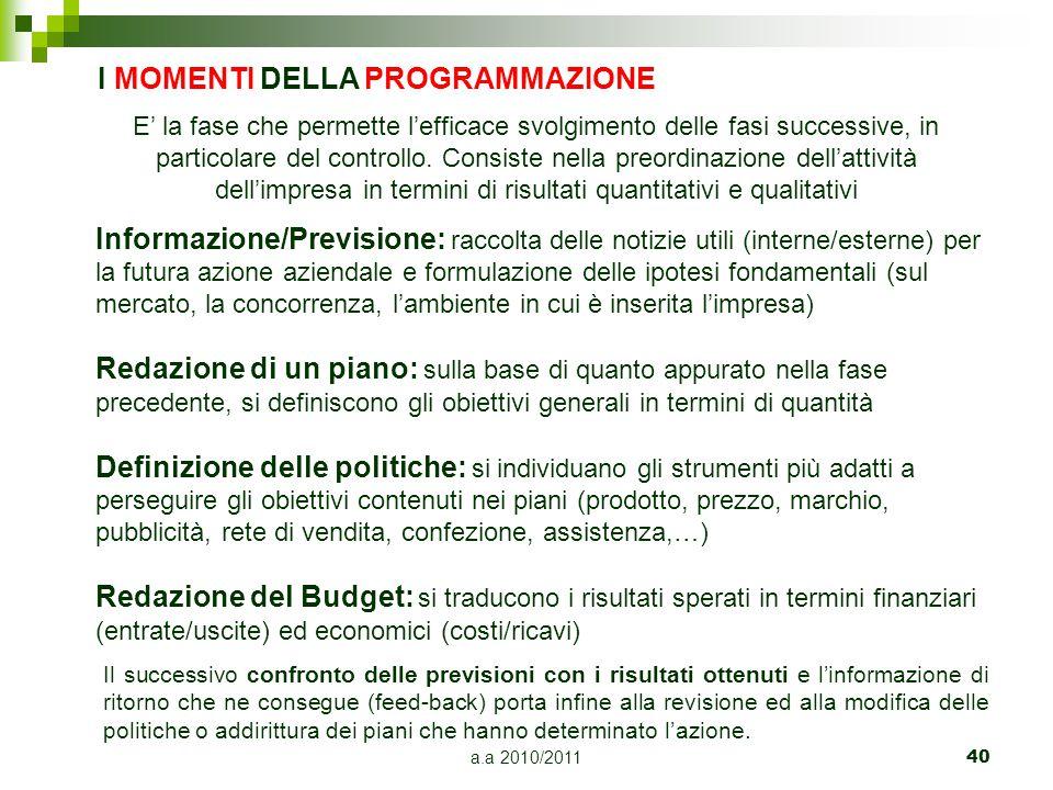 a.a 2010/201140 I MOMENTI DELLA PROGRAMMAZIONE Informazione/Previsione: raccolta delle notizie utili (interne/esterne) per la futura azione aziendale
