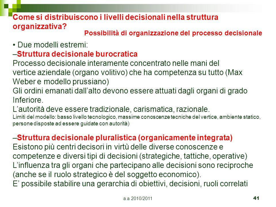 a.a 2010/201141 Come si distribuiscono i livelli decisionali nella struttura organizzativa? Due modelli estremi: –Struttura decisionale burocratica Pr