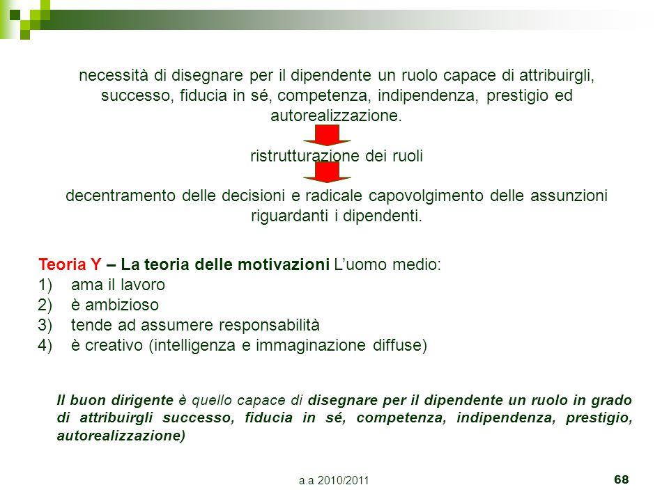 a.a 2010/201168 Teoria Y – La teoria delle motivazioni L'uomo medio: 1)ama il lavoro 2)è ambizioso 3)tende ad assumere responsabilità 4)è creativo (in
