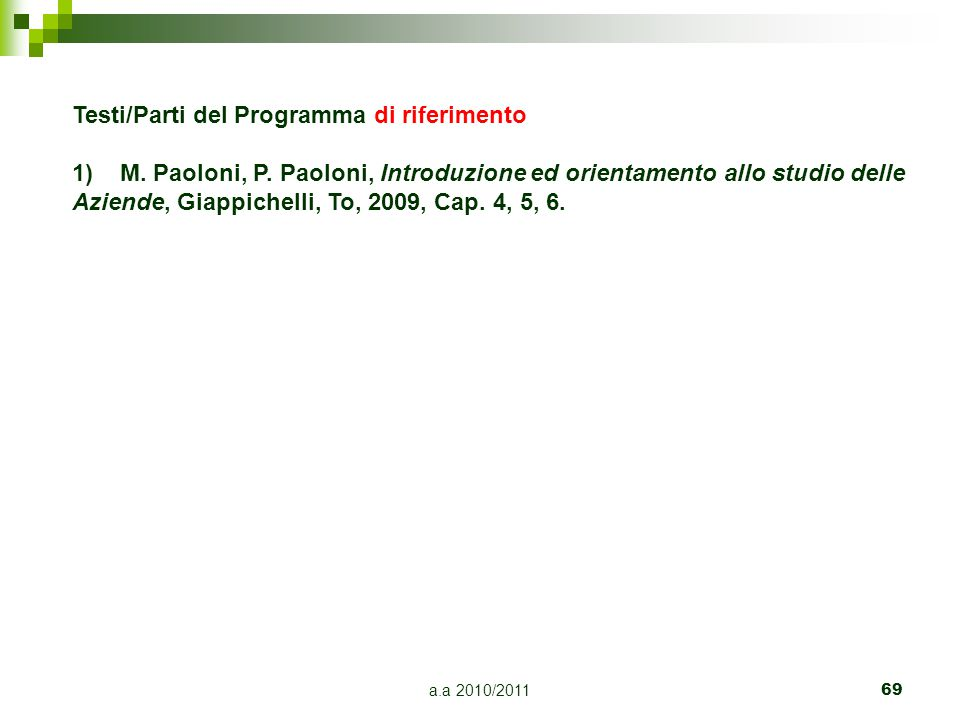 a.a 2010/201169 Testi/Parti del Programma di riferimento 1)M. Paoloni, P. Paoloni, Introduzione ed orientamento allo studio delle Aziende, Giappichell