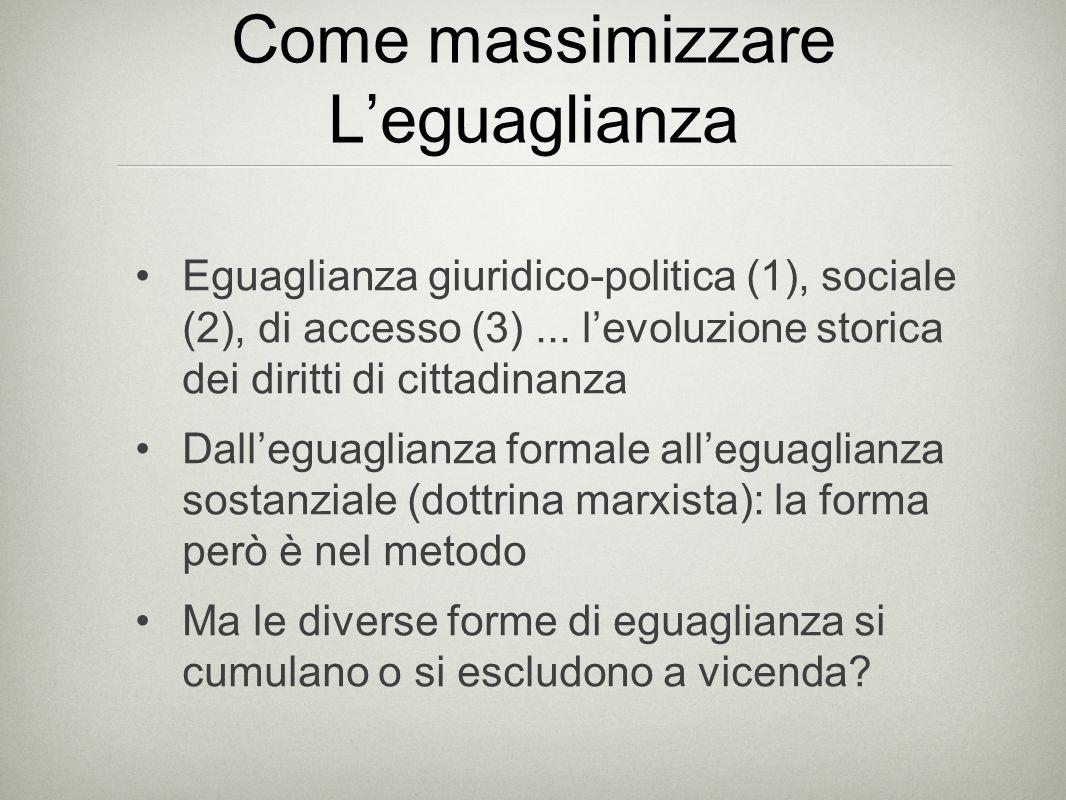 Come massimizzare L'eguaglianza Eguaglianza giuridico-politica (1), sociale (2), di accesso (3)...