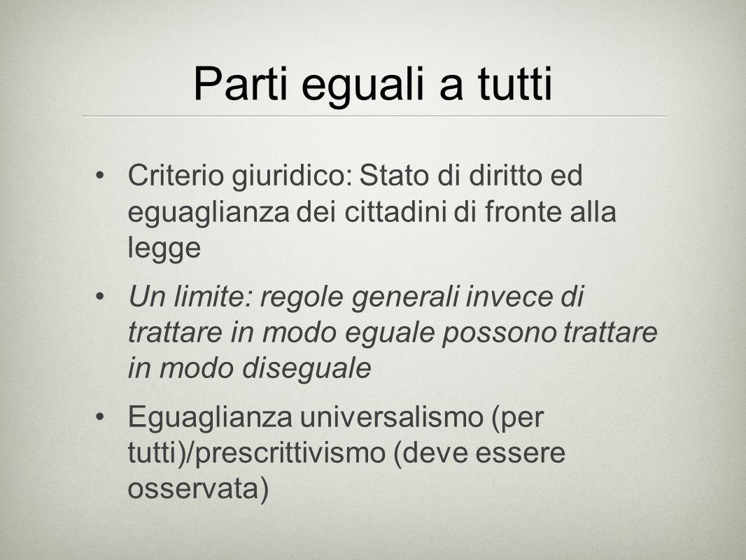 Parti eguali a tutti Criterio giuridico: Stato di diritto ed eguaglianza dei cittadini di fronte alla legge Un limite: regole generali invece di trattare in modo eguale possono trattare in modo diseguale Eguaglianza universalismo (per tutti)/prescrittivismo (deve essere osservata)