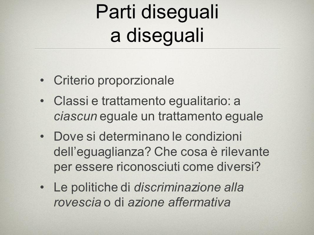 Parti diseguali a diseguali Criterio proporzionale Classi e trattamento egualitario: a ciascun eguale un trattamento eguale Dove si determinano le condizioni dell'eguaglianza.